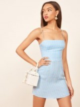 Reformation Preston Dress in Ruth Check | strappy blue and white gingham summer frock