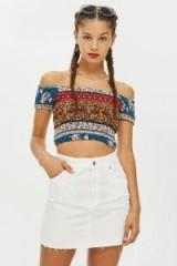 Band of Gypsies Printed Bardot Top | boho off shoulder crop