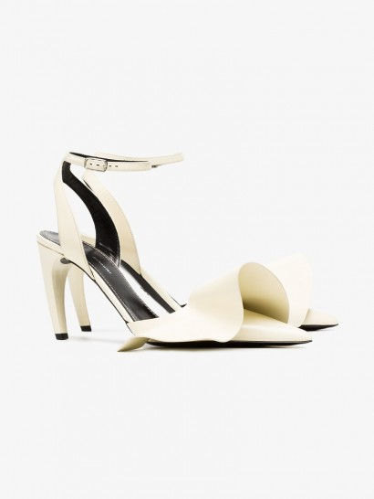 Proenza Schouler White Ruffle Detail 90 Leather Pumps ~ sassy heels