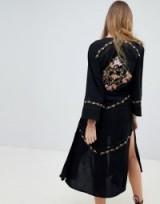 Rahi Cali Flora Embroidered Kimono in Black | oriental inspired fashion