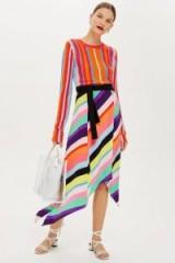 Topshop Rainbow Stripe Midi Skirt | asymmetric hemline