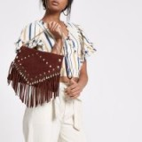 River Island Red leather studded tassel clutch bag | boho style handbags
