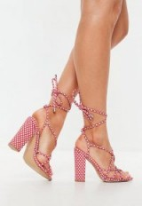 MISSGUIDED red polka dot multi strap block heel sandals – sexy summer look