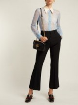 GUCCI Ribbon-tie blue sheer Chantilly-lace blouse ~ luxe vintage style clothing