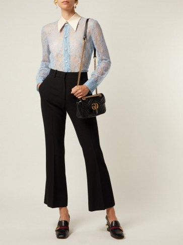 GUCCI Ribbon-tie blue sheer Chantilly-lace blouse ~ luxe vintage style clothing - flipped