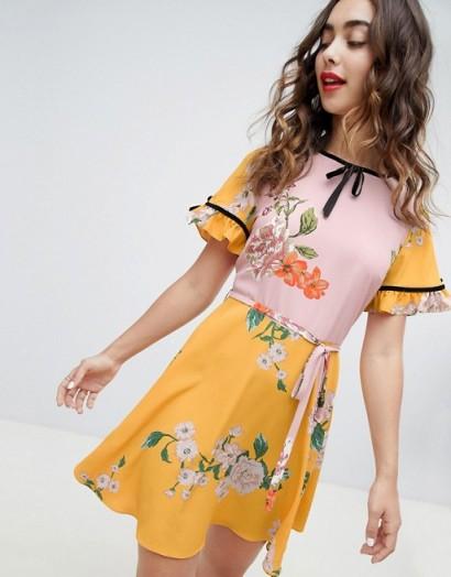 River Island floral print tea dress – yellow vintage style summer fashion