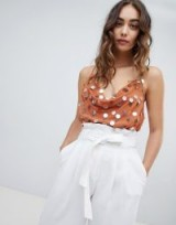 River Island sequin embellished cami top in rust – glamorous camisole