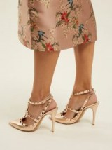 VALENTINO Rockstud metallic rose-gold leather pumps | luxe heeels