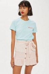 TOPSHOP Rose Gingham Mini Skirt / pink checks