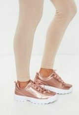 MISSGUIDED rose gold metallic chunky trainers – sports luxe