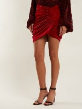 ALEXANDRE VAUTHIER Ruched red velvet skirt