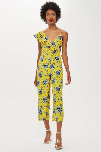 TOPSHOP Yellow Ruffle Floral Print Jumpsuit