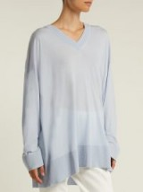 THE ROW Sabrinah oversized blue V-neck wool sweater ~ casual luxe knitwear