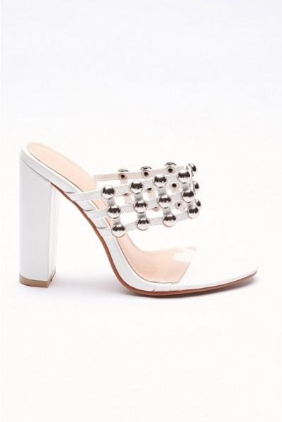 IN THE STYLE SAFFRAN WHITE STUDDED CLEAR STRAP HEELS ~ peep toe mules