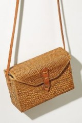 Sari Leather-Trimmed Straw Crossbody Bag at Anthropologie | box bags