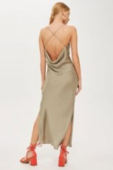 Topshop Satin Slip Dress in Olive | green strappy cross-back frock
