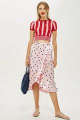 Topshop Pink Satin Spot Ruffle Midi Skirt
