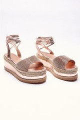 IN THE STYLE SELBY ROSE GOLD DIAMANTE ESPADRILLES ~ strappy summer platforms