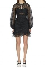 Self Portrait Black Circle Floral Lace Mini Dress