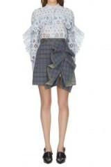 Self Portrait Flounced Check Skirt