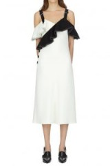 Self Portrait Monochrome Crepe Frill Midi Dress