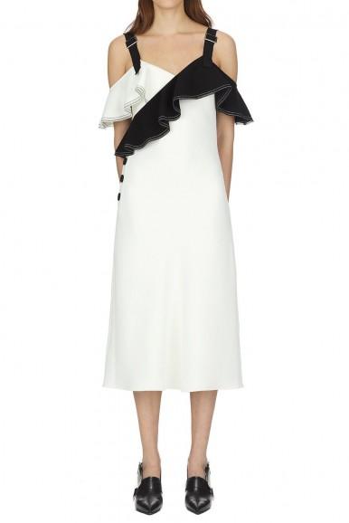 Self Portrait Monochrome Crepe Frill Midi Dress