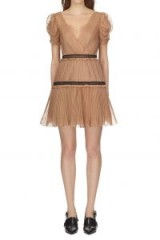 Self Portrait Nude Pleated Chiffon Mini Dress