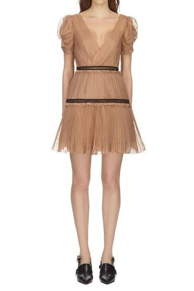 Self Portrait Nude Pleated Chiffon Mini Dress - flipped