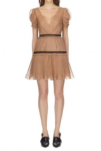Self Portrait Nude Pleated Chiffon Mini Dress