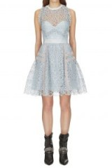 Self Portrait Pale Blue Circle Floral Lace Mini Dress