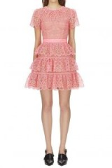 Self Portrait Pink Tiered Lace Mini Dress