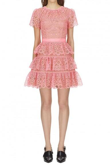 Self Portrait Pink Tiered Lace Mini Dress