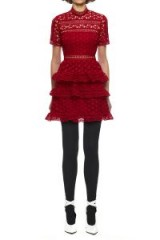 Self Portrait Red High Neck Star Lace Panelled Dress