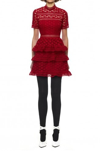Self Portrait Red High Neck Star Lace Panelled Dress - flipped