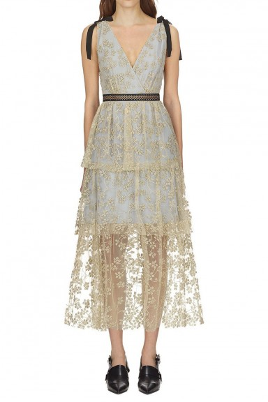 Self Portrait Tiered Floral Embroidered Mesh Midi Dress