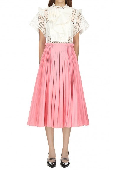 Self Portrait Two Tone Broderie Anglaise Midi Dress - flipped