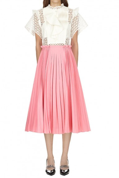 Self Portrait Two Tone Broderie Anglaise Midi Dress