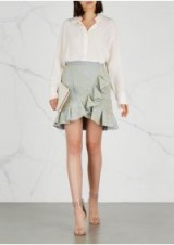 SELF-PORTRAIT Floral-embroidered tulle mini skirt ~ metallic-gold embroidery ~ feminine summer look