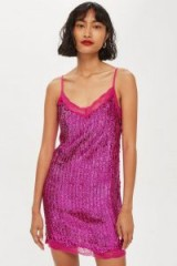 Topshop Sequin Slip Dress Pink – 90s style party dresses