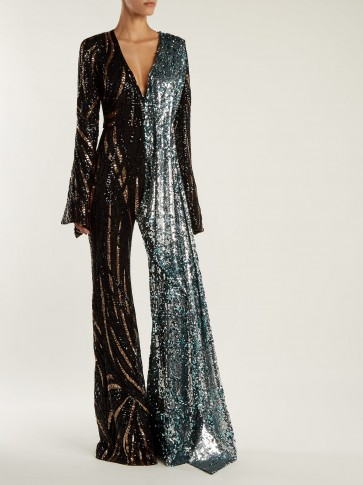 HALPERN Sequin-embellished wide-leg jumpsuit ~ 70s style evening glamour