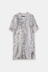 ZARA SEQUINNED SHIRT DRESS SILVER