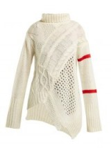 PREEN LINE Serenity white cable-knit sweater ~ chunky asymmetric knit