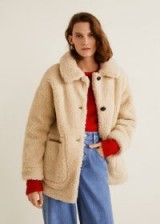 MANGO Sheepskin jacket in Ecru / faux fur / neutral toned coats