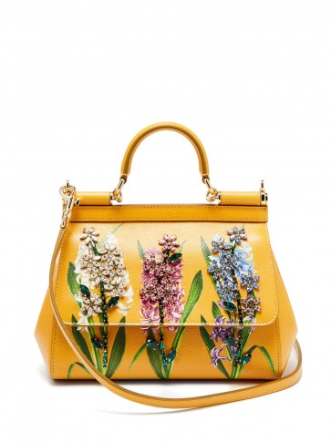 2a42969b67 DOLCE   GABBANA Sicily small yellow hyacinth flower-print leather bag