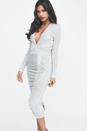 LAVISH ALICE signature silver iridescent sequin midi dress ~ luxe fashion