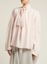 LEMAIRE Pink Silk neck-tie blouse ~ feminine & ladylike