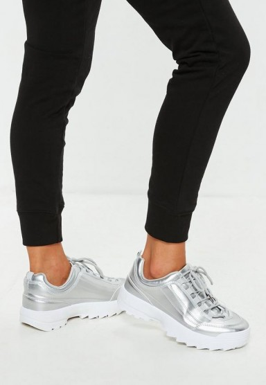 MISSGUIDED silver metallic chunky trainers – sports luxe
