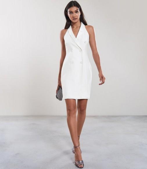 REISS SINEAD SLEEVELESS TUXEDO DRESS OFF WHITE ~ evening elegance