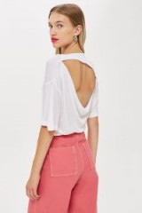Topshop Slash Back T-Shirt by Boutique | white open back tee