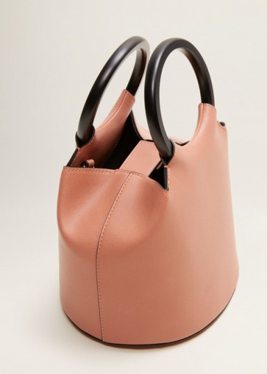MANGO Small tote bag in Pink / chic handbag